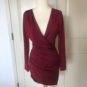 Boohoo Dark Red Sexy Club Dress